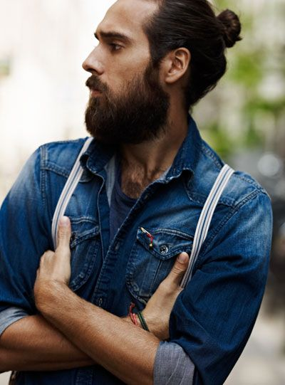 it takes a real man to wear a bun. and denim with suspenders makes it so very @MODWESTERN #modwestern