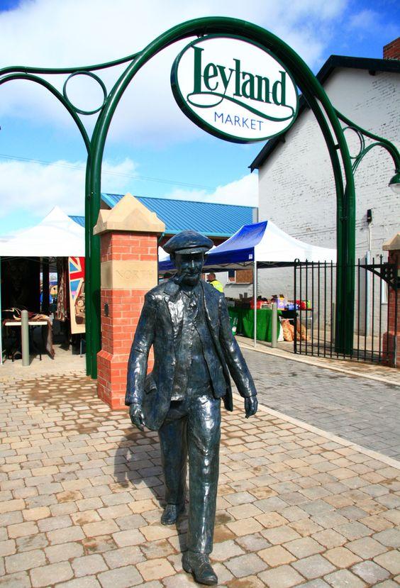The Leyland Worker statue, outside Leyland Market, celebrating the heritage of Leyland