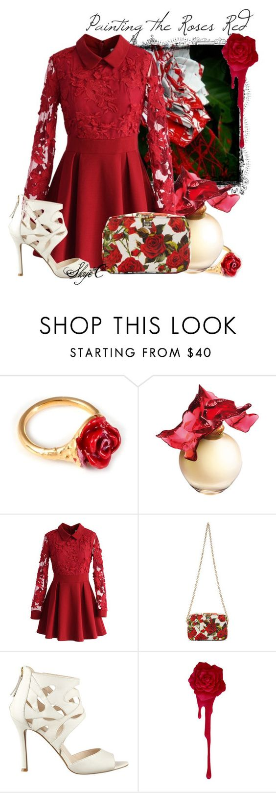 """""""Painting the Roses Red - Disney's Alice in Wonderland"""" by rubytyra ❤ liked on Polyvore featuring LeiVanKash, Lalique, Chicwish, Dolce&Gabbana, Nine West, disney, aliceinwonderland and disneybound"""