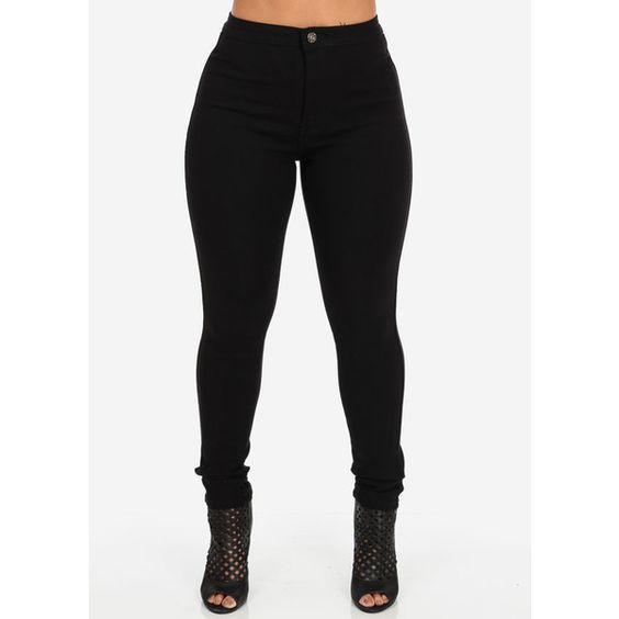 Black One Button High Waist Skinny Jeans ($25) ❤ liked on
