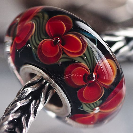 GlassBonBon Lampwork Glass Bead Poppy SRA fits all kinds of european charm bracelets BHB fully cored