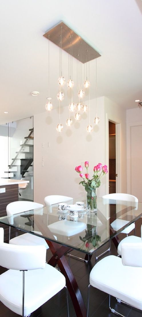 Modern Dining Room Lighting. Contemporary Dining Room With Windows \u0026  Glass Bubble Chandelier |