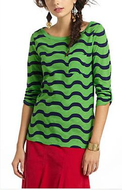 amazing, printed, green knit top available at Anthropologie