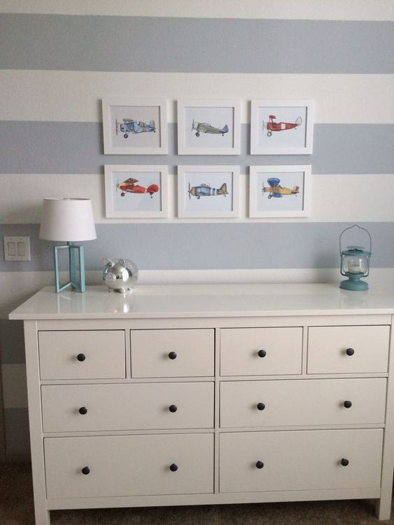Airplane Themed Striped Nursery With White Ikea Hemnes Dresser. White Dresser For Nursery