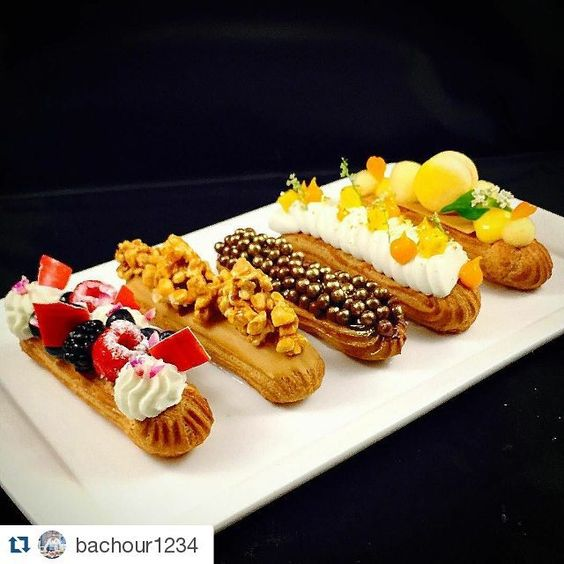"#Repost @bachour1234 with @repostapp ""Eclair"" Berries and Cream/ Caramel and Popcorn/ Chocolate / Coconut and Mango / Passion Fruit:"