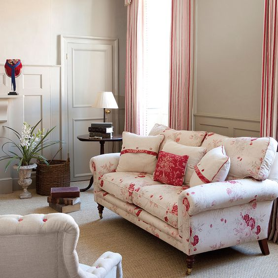 Paint Colour: Light Grey (Farrow  Ball) Curtain Fabric: Red Ticking Sofa Fabric: Roses