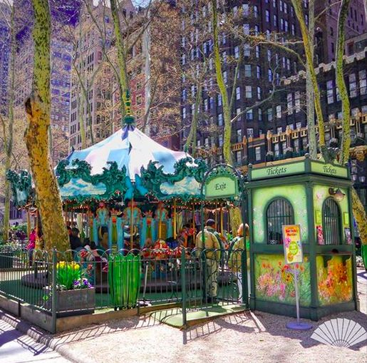 Carousel at Bryant Park, Manhattan.May 2015. ‪#‎MyViewYork‬ Photo @CXCArtist ‪#‎NYC‬ ‪#‎MOview‬ ‪#‎BryantPark‬