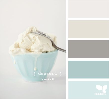 Lightest blue for bath paint, darkest for hall, medium for bedroom paint, tans for rugs or bedding. Accents beach grass green, deep north Atlantic sea blue, mussel shell grey