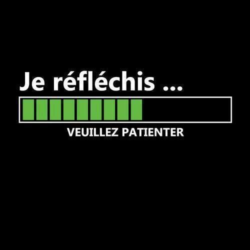 French | I'm thinking... Please be patient | Very used phrase in France | Voilà ce que je vais répondre à de nombreux messages, à partir de dorénavant...