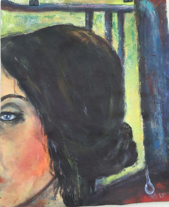 Lágrima a mulher  Acrílica sobre tecido tela  40x50cm  Série : fragmentos  Autor :Lorna  Valor : 300€