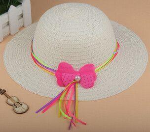 Fashion Lovely Bowknot Kids Girl Cute Summer Beach Sun Protection Straw Hat Flower Cap