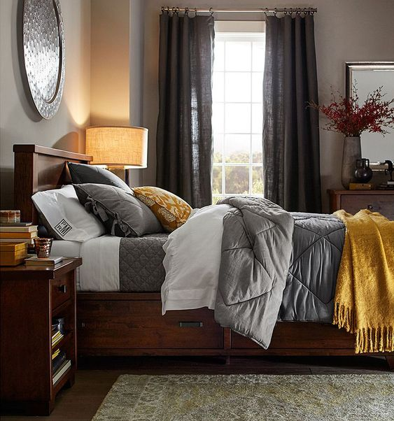 Next bedroom I decorate will be grey and yellow. Will go well with my current furniture. Love the color combo!