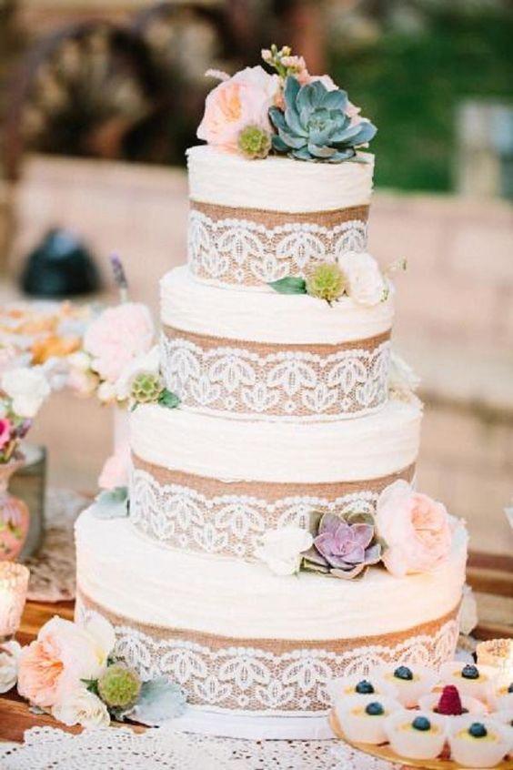 Rustic Lace And Burlap Wedding Cake Wedding Wedding Cakes Wedding Ceremony Wedding Wed Wedding Cake Rustic Country Wedding Cakes Burlap Wedding Cake