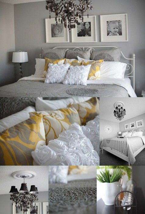 Grey, Yellow and White Bedroom Decor.  Love this combo with maybe some black accents!