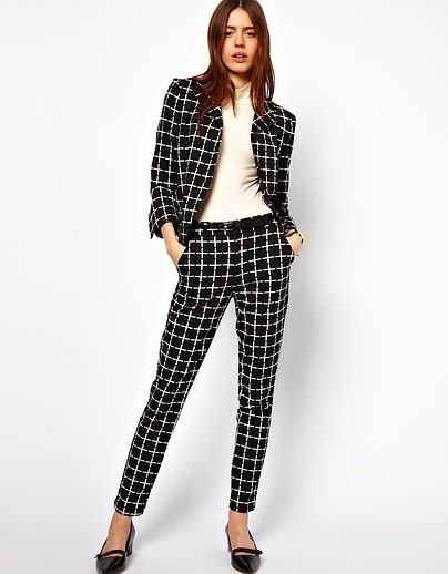 ASOS' black-and-white checkered suit is undeniably cool.  Jacket $88; Pants $62