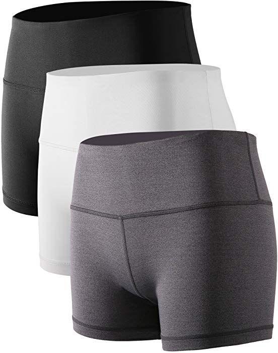 Cadmus Womens High Waist Workout Running Compression Shorts with Pocket