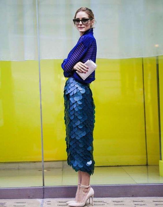 Look azul Olivia Palermo semana de la moda