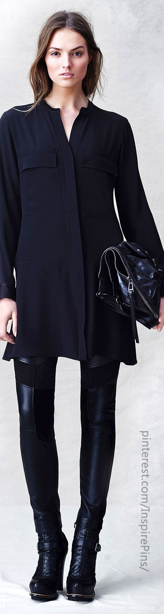 Belstaff Pre-Fall 2014 It's all about the Black on Black- love this leather look pants with tunic.maybe add studded bracelet bands.