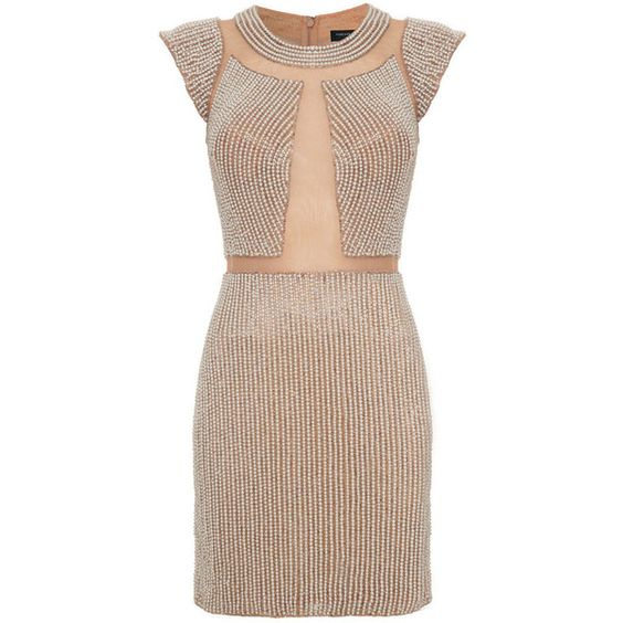 Forever Unique Tracey Fitted Dress (£145) ❤ liked on Polyvore featuring dresses, nude, cap sleeve short dress, cap sleeve a line dress, forever unique dresses, a line dress and tight dresses