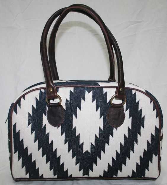 Cotton Kilim Bag Vintage Kilim Carpet Bag With Leather   #handmade #Hobo