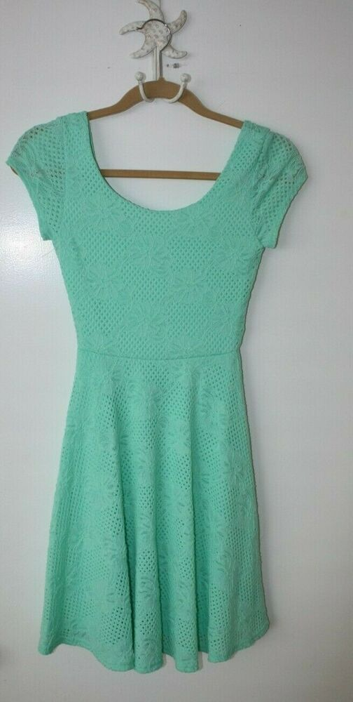 Soprano Mint Green Comfy Lined Summer Lace Dress Size XS