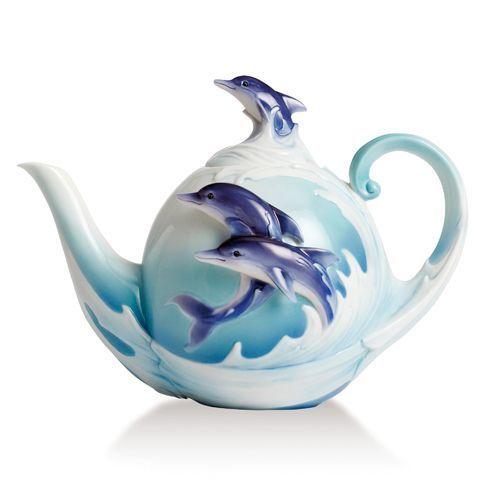 Franz Porcelain Dolphin Teapot Dimensions L X W X H Inch 9 1 8 X 5 3 8 X 6 5 8 Tea Pots Teapots Unique Porcelain Teapot
