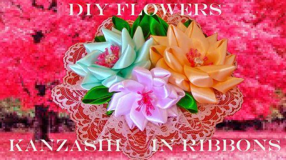 DIY Flores Kanzashi tocados en cintas - Kanzashi flowers headdresses rib...