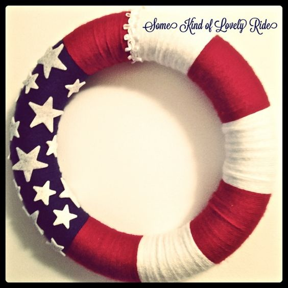 Red, White & Blue yarn wreath
