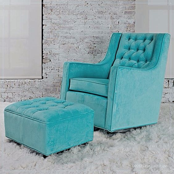 Tiffany Blue Chair Amp Ottoman Turquoise Teal Aqua