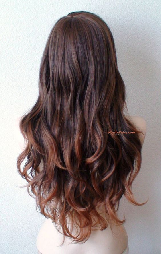 Brown / Auburn ombre wig. Long curly hair long side by kekeshop