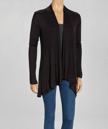 Look at this #zulilyfind! Black Drape Open Cardigan by Modern Touch #zulilyfinds