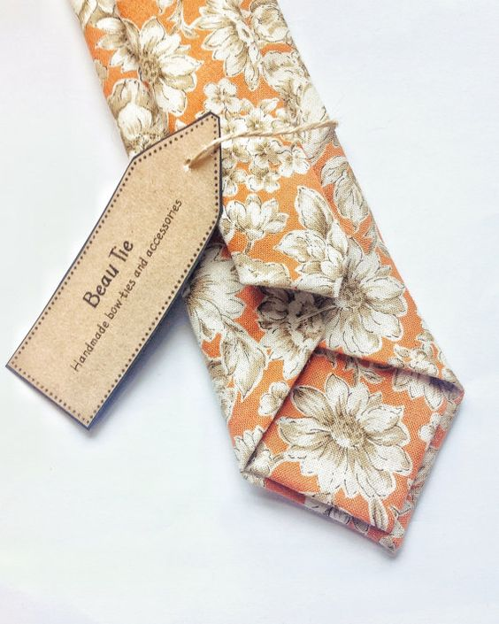 Floral tie Mens skinny tie wedding tie orange skinny by BeauTieUK: