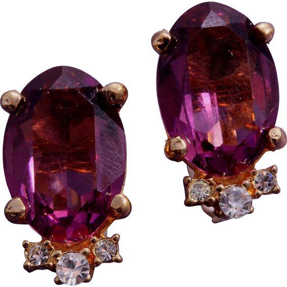 Vintage Amethyst Glass Christian Dior Earrings