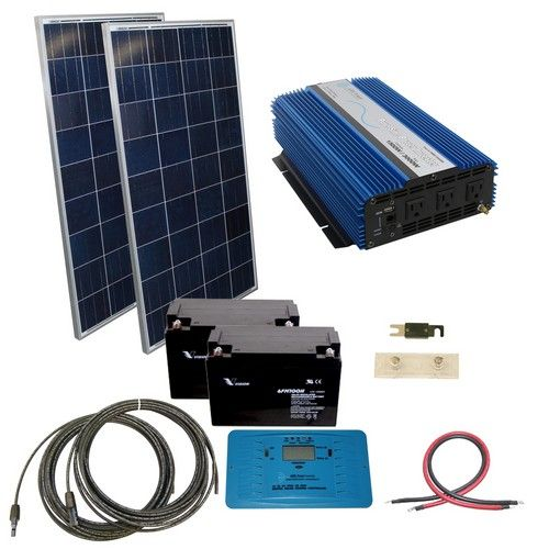 240 Watt Off Grid Solar Kit With 1500 Watt Pure Sine Inverter 24 Volt Solar Kit Solar Energy Panels Solar Heating