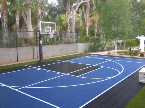Half court backyard basketball court backyard courts for Outdoor basketball court cost estimate