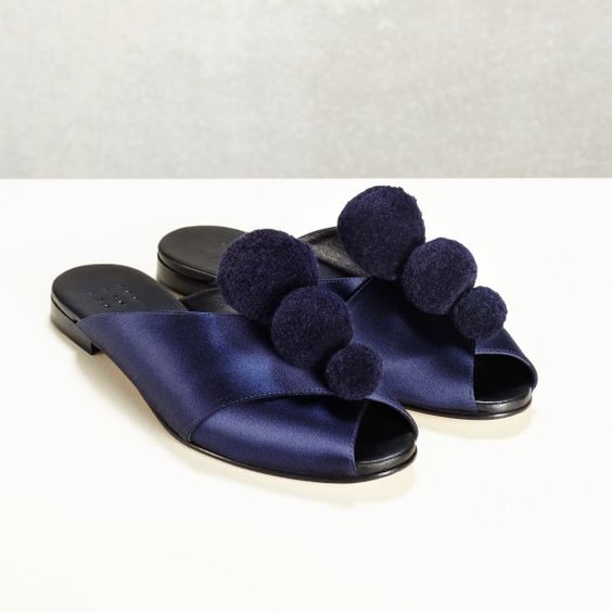Pajama Sandal W/ Pom Poms