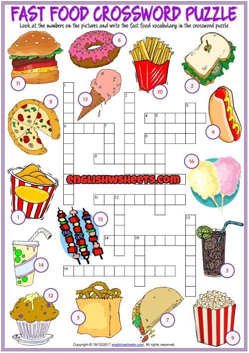 Fast Food Crossword Puzzle Esl Printable Worksheet Crossword Esl Fast Food Prin Vocabulaire Anglais Mots Meles A Imprimer Anglais