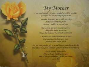 Birthday Poems Deceased Mom | MY MOTHER PERSONALIZED POEM ...