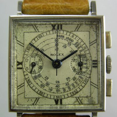Rolex Chronograph 3529. The unusual square face gives this vintage watch extra flare.