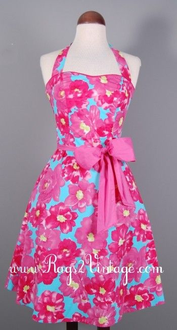 """Rags 2 Vintage - """"Pink Petunia"""" Vintage Inspired Retro Style Hot Pink Halter Dress, $28.00 (http://www.rags2vintage.com/pink-petunia-vintage-inspired-retro-style-hot-pink-halter-dress/)"""