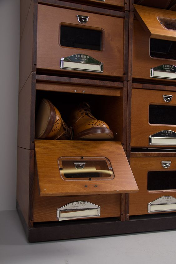 Wooden shoe rack made from vintage medical cabinet clubhouse interiors have these so you could - Shoe box storage shelves ...