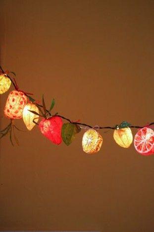 Fruit fairy lights - want them for my balcony!!
