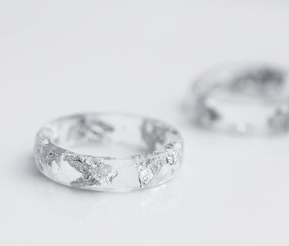 Resin Stacking Ring Silver Flakes Icicle Small by daimblond