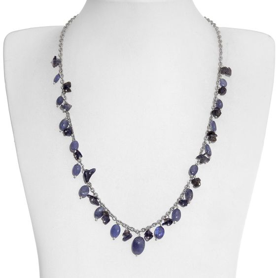 Tanzanite, Catalina Iolite Necklace (20 in) in Silvertone and Stainless Steel TGW 30.73 Cts.