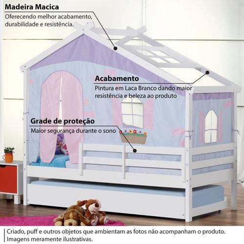 Foto 2 Bicama Infantil Prime Com Telhado V Tenda Tijolinho Azul