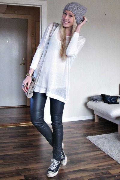 Αποτέλεσμα εικόνας για oversized sweater with leather leggings