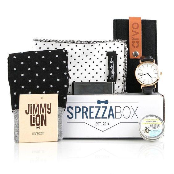 Sprezzabox - Der persönliche Zubehör-Stylist Sprezzabox vereinfacht das Einkaufserlebnis durch das monatliche Versenden einer neuen Box mit 5-6 neue Produkten, die den letzten Schliff zu einem perfekten Outfit geben. Das alles zu einem Preis, der mit ca. 25€ monatlich sehr human ist. Krawatten, Geldbörsen, Sonnenbrillen, Socken, Uhren und vieles mehr sind die typischen Produkte, die Sie erwarten dürfen.