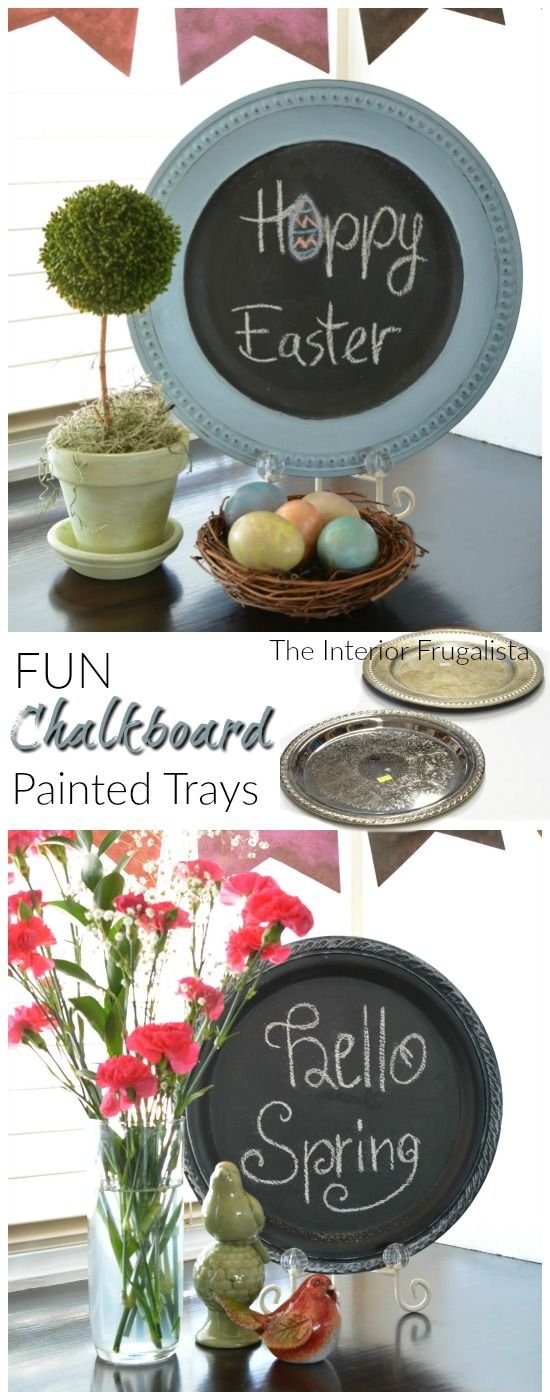 How to turn thrift store silver trays and charger plates into fun chalkboards|The Interior Frugalista: