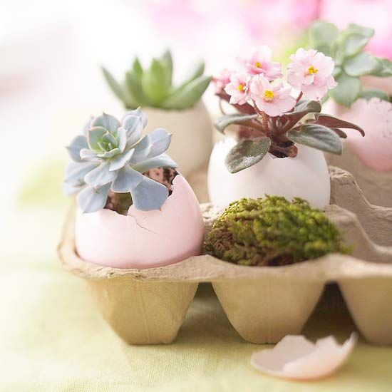 This botanical egg planter makes for a charming table decoration. How-To: http://www.bhg.com/holidays/easter/decorating/decorate-with-easter-eggs/#page=4