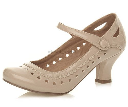 Details about WOMENS LADIES LOW HEEL ANKLE STRAP MARY JANE STYLE